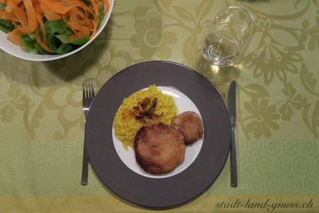 Sellerie - süss, paniert, frittiert: Dazu Rüeblichips...
